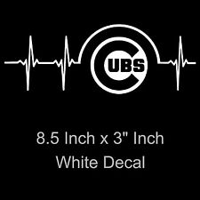 Chicago Cubs Heartbeat Vinyl Decal/Sticker Large 8.5 x 3 Inch - Free Standard SH