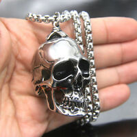 Mens Large Heavy Vintage 316L Stainless Steel Skull Pendant Necklace Silver Tone