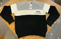 Le Tigre Sweater Men's 80's styled Striped Black Grey Shaker knit New w Tags