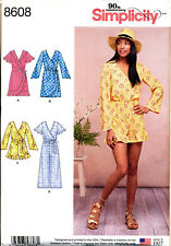 SIMPLICITY SEWING PATTERN 8608 MISSES 6-14 WRAP DRESS, JUMPSUIT W/ RUFFLE DETAIL