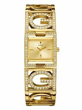 New Authentic GUESS Gold Tone Bangle Women's Watch Rectangular Face U13530L1 NWT