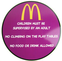 Vtg McDonald's Playland Store Display SIGN Plastic CHILD SUPERVISION
