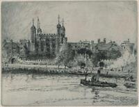 THE TOWER OF LONDON Signed Etching - 20TH CENTURY - INDISTINCTLY SIGNED