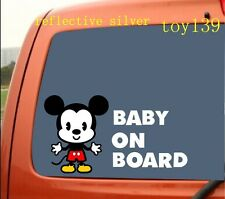 """FOR/ Mickey and  Minnie Mouse """"BABY ON BOARD"""" / Car Decal sticker/ reflective"""