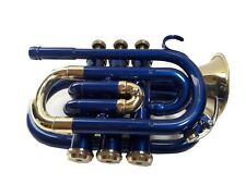 NEW YEAR SALE BRAND NEW BLUE & BRASS Bb POCKET TRUMPET+FREE HARD CASE+M/P