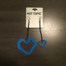 NEW Hot Topic Blue Lego Block Heart Dangle Earrings for Pierced Ears