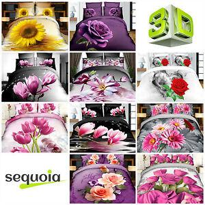 3D Floral Bedding Sets Effect Photo Flowers Double Duvet Quilt Cover Pillowcases