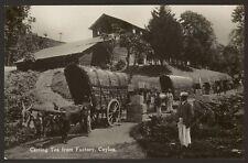 More details for ceylon. sri lanka, postcard. carting tea from factory vintage rppc by plâté
