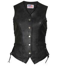 Ladies Women Real Leather Side Lace Motorcycle Biker Waistcoat Vest Gilet Uk-12 Black