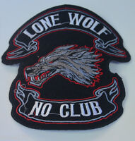 """9cm / 3.5"""" LONE WOLF NO CLUB  CLOTH SEW IRON ON PATCH BADGE BIKER  MOTORCYCLE"""