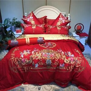 Flowers Embroidery Egyptian Cotton Red Wedding Bedding Set Duvet Cover Bed Sheet