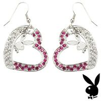 Playboy Earrings Silver Plated Bunny Heart Dangle Pink Swarovski Crystal XMAS 03