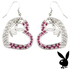 Playboy Earrings Silver Plated Bunny Heart Charm Dangle Pink Swarovski Crystal