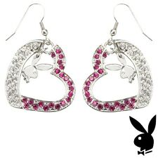 Playboy Earrings Bunny Heart Charms Dangle Pink Swarovski Crystals MOTHERS DAY