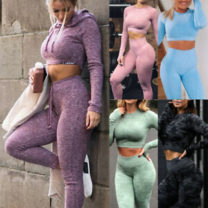 Womens Seamless Yoga Set High Waisted Leggings Long Sleeve Crop Top Fitness Gym