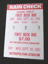 LAST MINNESOTA TWINS  GAME METROPOLITAN STADIUM TICKET STUB SEPT 30,1981