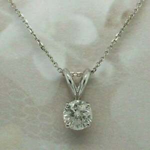 1Ct Round Cut Solitaire Simulated Diamond 14k Gold Plated Pendant Chain Necklace