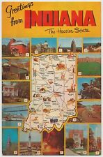 Vintage Map Postcard of Indiana - The Hoosier State