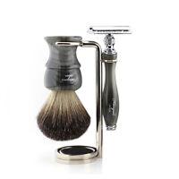 Mens Shaving Set Double Edge Safety Razor Badger Hair Brush Stand Kit HARYALI