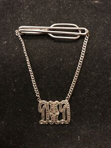 Antique Sterling Silver Marcasite Jim Initial Tag Mens Tie Clip with Chain