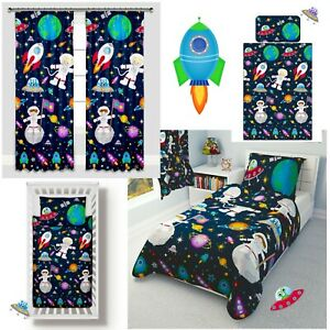 Space Ships Rockets Boys Girls Bedding Set Curtains Nursery Baby Toddler Cot Bed