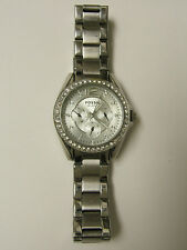 (W) FOSSIL CRYSTAL MULTI-FUNCTION WATCH 10 ATM ES2203 PRE-OWNED WORKING BATTERY