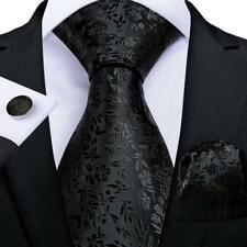 USA Silk Tie Black Jacquard Floral Mens Necktie Handkerchief Cufflinks Formal