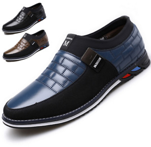 Mens Casual Oxfords Leather Shoes Pointed Toe Business Formal Dress Flat Loafers