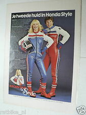 A026- HONDA STYLE LEATHER SUITE ADVERTISEMENT COLOUR 1978 MOTORCYCLE