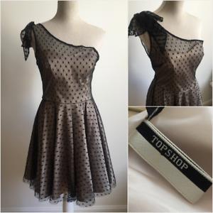 Topshop Premium | Size 12 | Black Mesh Dotted Asymmetric Shoulder Tea Dress
