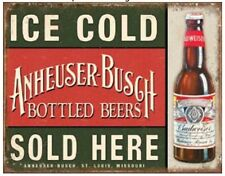 Anheuser Busch Budweiser Bud Bottle Vintage Weathered Look Metal Tin Sign New