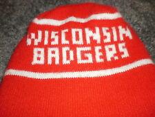 Wisconsin Badgers red & white winter hat skull cap beanie