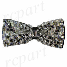 New in box Brand Q Men's Crystals Pre-tied Bow Tie Clear Checker Prom Formal