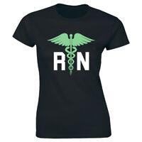 RN with Nurse Symbol Women's T-Shirt Nursing Gift Tee Medical Healthcare Tee