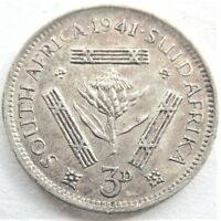1941 SOUTH AFRICA,GEORGE VI, 3 Pence grading EXTRA FINE.