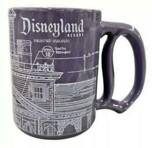 Disney Parks Disneyland Haunted Mansion Blueprint Purple Ceramic Mug Cup