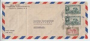 Liberia  # 279 287 Cover to Switzerland SCARCE CP.24 Cancel Fauna Antelope