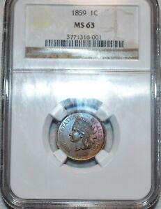 NGC MS-63 1859 Indian Head Cent, Attractively toned & Razor-Sharp!