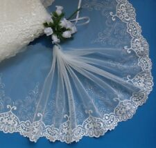 """7"""" Wedding Bridal Off White Embroidered Flowers Net Lace Trim-Per Yard-T739S"""
