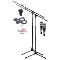 Microphone Boom Arm Stand 2 Pack Holder XLR Cable Cardioid Dynam Vocal Mic Clip