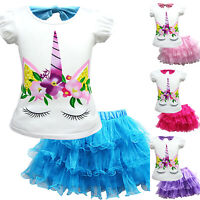 Kid Baby Girls Unicorn Pattern T-Shirt + Mesh Tutu Dress Skirt Party Outfit 2Pcs