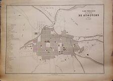PERÚ,plano ciudad de Ayacucho. Paz Soldán.Geografía del Perú 1865.