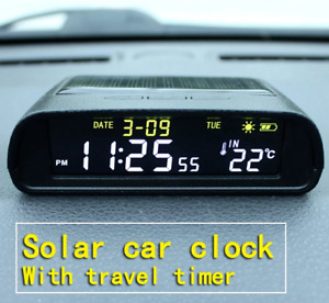 Solar Car Digital Clock Thermometer Driving Time Reminder No Wiring LCD Watch