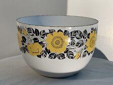 Kaj Franck Finel Enamel Bowl, Yellow & Black Floral Pattern