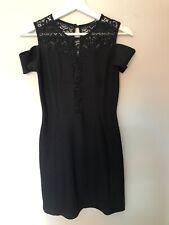 Topshop TFNC Dress Black with Lace Detail Size Medium  Bodycon