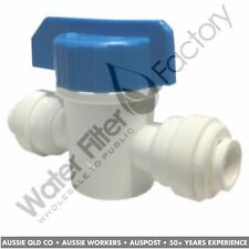 Quickfit 1/4 Inch Inline Fridge Water Filters Tube Cut Off + Stop Valve Tap