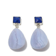 JAY KING Sterling Silver Lapis Stud and Blue Lace Agate Pear Drop Earrings - NIB