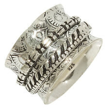 """Mens 925 Silver Jewelry Ring """"9"""" Meditation Spinner Wide Band Unisex Women's"""