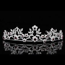 Floral Bridal Headpiece Red Crystal Rhinestone Prom Wedding Tiara V640
