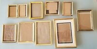 Vintage Gold Brass Tone Metal Photo Picture Frame Lot of 9. Largest is 5 x7